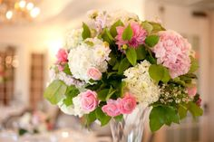 pink roses and white and pink hydrageas