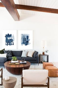 Blue Couch Living Room, Blue And White Living Room, Navy Living Rooms, Boho Living Room, Art For Living Room, Cozy Living, Living Spaces, Navy Blue Wall Art, Navy Blue Sofa