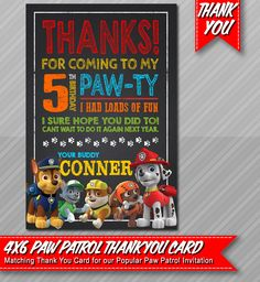 Paw Patrol Thank You- Chalkboard style - Paw Patrol Party - Paw Patrol Birthday - Thank You Card by ePartyPrintables on Etsy