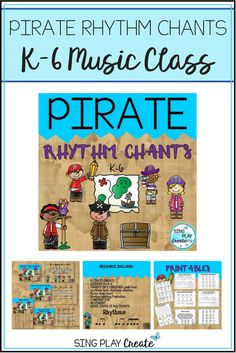 """Celebrate """"Talk Like a Pirate Day"""" using these Pirate Chants and Activities for K-6 students.Upper and lower elementary students will love imitating pirates and chanting about their life. Use the printables for extension activities."""