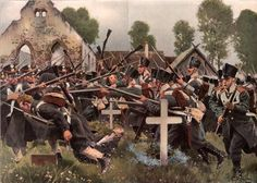 """Befreiungskriege 1813–1815: Herbstfeldzug 1813.  """"Schlacht bei Großbeeren am 23. August 1813. / Das Kolberger Regiment erstürmt den Kirchhof."""""""