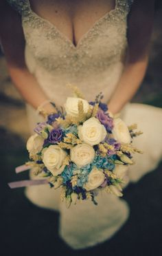 Bridal Bouquet with Roses and Wheat