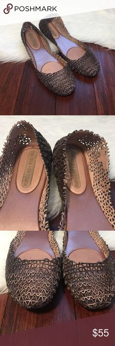 | Melissa + Campana | Bronze Papel Scribble Flats In excellent condition. Only worn one time. No noticeable flaws. Made from a rubbery material.  Super awesome and adorable! Melissa Shoes Flats & Loafers