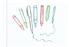 Writing, painting and drawing instruments vector art illustration