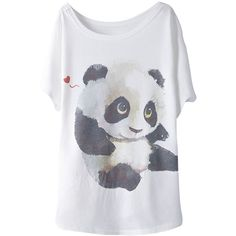 2015 White Cute Panda Printed Womens Loose Funny T-shirt ($9.90) ❤ liked on Polyvore featuring tops, t-shirts, shirts, tees, white, white shirt, cut loose shirt, loose tee, loose white shirt and loose fitting shirts