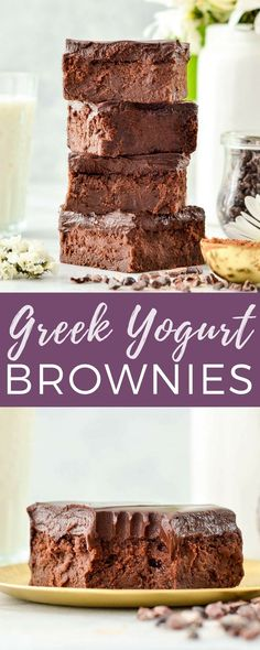 Healthy Greek Yogurt Brownies with Chocolate Ganache are so fudgy and delicious that no one ever suspects they're healthy! Gluten-free & grain-free! #brownies #grainfree #glutenfree #greekyogurt #healthybrownies #healthyrecipe #dessert via @joyfoodsunshine