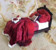 Bespaq Pat Tyler Artisan Red Leather Bed Wicker Basket Dressed Dollhouse Mini   eBay