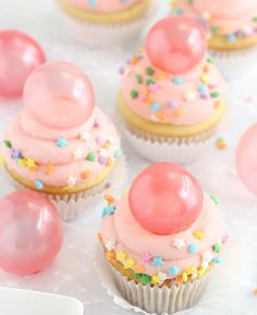 """Beautiful Gelatin Bubbles on top of cupcakes - completely edible and kids are delighted to see these """"bubbles"""" on top of a cupcake! Super easy......"""