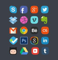 20 Social Media Badges PSD Freebie