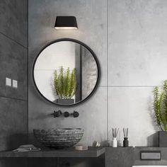 Latitude Run Wysong Modern & Contemporary Bathroom Mirror Black Bathroom Mirrors, Contemporary Bathroom Mirrors, Black Round Mirror, Round Mirrors, Entry Mirror, Mirror Vanity, Small Bathtub, Mdf Frame, Mirror Shapes