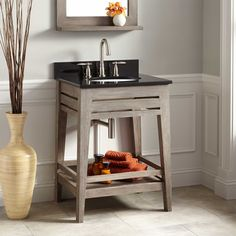 "24"" Aurelia Teak Vanity for Undermount Sink - Gray Wash"