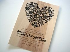 Vintage Tapestry Suzani Heart on Real Wood Wedding Invitation