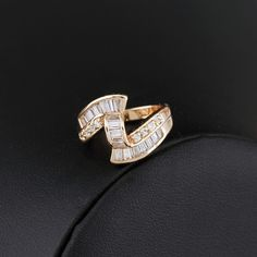 Special Design Inlay Zircon 18K Gold Plated Fashion Copper Finger Ring Full Sizes