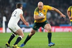 Wallabies hooker Stephen Moore side-steps the challenge of England fly-half George Ford Go Bokke, England Rugby World Cup, Buy Tickets, Lancaster, Ford, It Cast, Challenges, Australia, Running