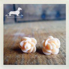 Little Peach Rosebud Post Earrings  Flower by PickleDogDesign, $5.50