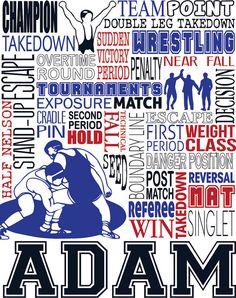 Wrestling Print - Typography Wrestling Poster Print - Custom Poster Wrestler - Wrestling Team Gift