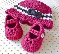 Baby Girl Booties and Hat Set- Modern Crochet Mary Jane Shoe - Cloche Hat Bow - Infant Size 3 to 6 Months - Gift Boxed via Etsy