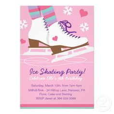 Ice Skating Birthday Party Invitations for Girls - Modern December Birthday, 12th Birthday, Birthday Parties, Ice Skating Party, Skate Party, Girls Party Invitations, Invites, Sports Party, Frozen Party
