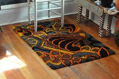 Vintage 1970s Wild Art Nouveau Latch Hook Rug by drowsySwords, $75.00