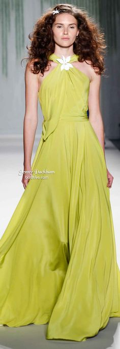 Jenny Packham Spring 2014 styles are expertly pleated, layered and sheer, and glide over the silhouette. Her designs are always the epitome of elegance. Fashion Line, Runway Fashion, Spring Fashion, High Fashion Dresses, Maxi Dresses, Dress For You, Dress Up, Jenny Packham, Party Fashion