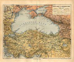 1877 Black Sea Russia Crimea Ukraine Odessa Turkey Bulgaria Antique Map Pierers