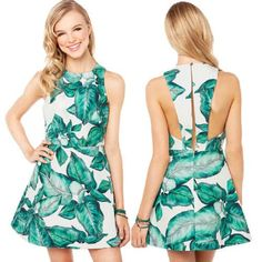 Womens Banana Leaves Floral Print Back Split Long Casual A-Line Party Dress Slim