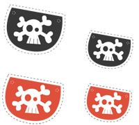 Free printable  pirate eye patches (for pin the patch on the pirate)