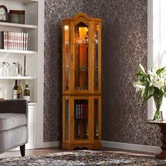 Burke Golden Oak Corner Curio Cabinet