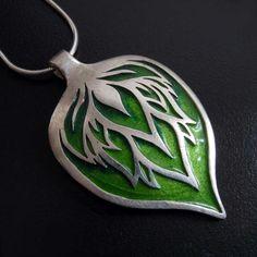 Silver Pendant - Enamelled Green Leaf - by Abi Cochran