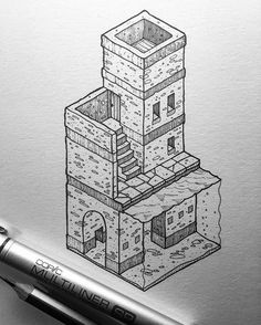 Inktober No.24.  Edit: SOLD. For sale: £31 including U.K. postage (overseas a little extra). DM me.  The twenty fourth of my little isometric inktober illustrations. 31 days, 31 drawings, £31 each.  #inktober #inktober2016 #illustration #isometric by thisnorthernboy