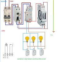 Esquemas eléctricos: croquis con contactor mas reloj horario
