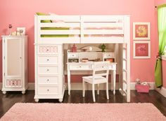 This Jamboree twin storage loft bed with desk and hutch has a clean, simple style designed to accommodate your little one for years to come.
