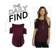 """Daily Find: Boohoo Cold Shoulder T-Shirt"" by polyvore-editorial ❤ liked on Polyvore featuring Boohoo and DailyFind"