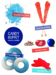 How to Style a Nautical Candy Buffet by Bird's Party!  Featuring candy from candygalaxy.com!