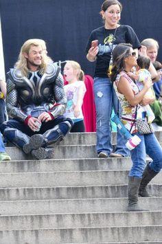 Thor Chris Hemsworth- look at him ham it up around kids- freaking adorable!!!