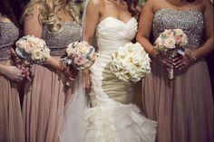 Bridesmaid Dresses: dusty rose, crystal detail. Bouquets:  blush pink roses. Venue: Taglyan Complex
