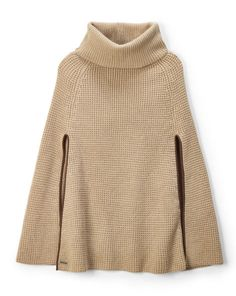 Waffle-Knit Cape - Scarves and Ties Women - Ralph Lauren France Pull Poncho, Poncho Shawl, Poncho Sweater, Knitted Cape, Crochet Poncho, Knitwear Fashion, Knit Fashion, Cashmere Cape, Capes For Women