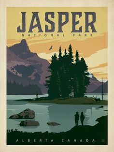 Canada: Jasper National Park - Our latest series of classic travel poster art is called the World Travel Poster Collection. We were inspired… Poster Art, Retro Poster, Gig Poster, Art Posters, Canada National Parks, Jasper National Park, Vintage National Park Posters, Posters Canada, Park Art
