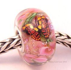 Pink Monarch Butterfly Garden Glaslight Artisan Handmade Lampwork Glass Murano Dichroic Sparkle European Charm BHB Bead SRA