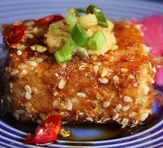 Sesame and bonito flaked crusted tofu Tofu Recipes, Asian Recipes, Vegetarian Recipes, Cooking Recipes, Japanese Recipes, My Favorite Food, Favorite Recipes, Cooking Tofu, Tofu Dishes