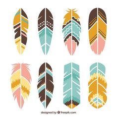 Collection of ethnic feathers Free Vecto. Indian Birthday Parties, Native American Teepee, Boho Theme, Boy First Birthday, Le Far West, Wild Ones, Pattern Drawing, Decorating Blogs, Vector Free