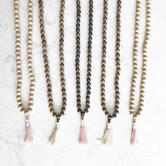 Wood Mala Necklace with Tassel
