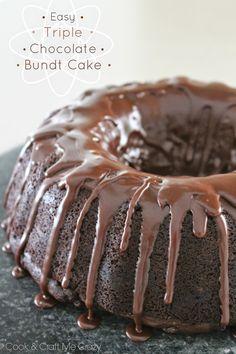 Easy Triple Chocolate Bundt Cake - SCRUMPTIOUS!