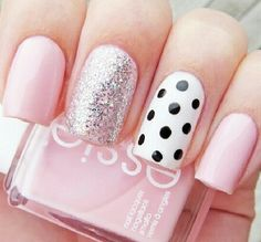 And polka dot nails pink nails, girls nails, pink manicure, blue nail, ma. Really Cute Nails, Love Nails, Fancy Nails, Trendy Nails, Chic Nails, Milky Nails, Polka Dot Nails, Polka Dots, Pink Nail