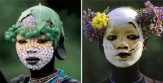Mursi and Surma girls from Natural Fashion: Tribal Decoration from AfricaBy Hans Silvester