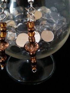 Handmade earrings silver browns hooks dangle by BySunshineDesign