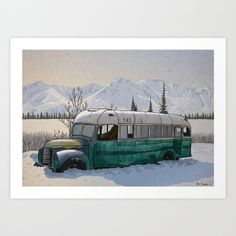 Into the Wild Fairbanks Bus Art Print by Ari Szmidt | Society6