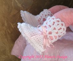 Crochet Pattern - Snow-white Lace Top Baby Booties.