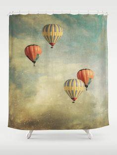 Balloons Shower Curtain Bathroom home decor hot. Hot air balloon theme?
