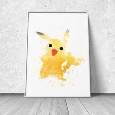 Pikachu, Pokemon Fan Art, watercolor illustration, giclee art print, silhouette, wall decor by RNDMS on Etsy https://www.etsy.com/listing/191438562/pikachu-pokemon-fan-art-watercolor